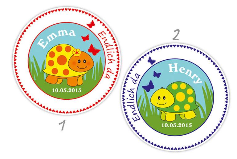 personalisierbare Babyaufkleber mit niedlichen Schildkröten, personalisierbar mit Wunschtext - zur Geburt, Babyshower, Gastgeschenke, Einladungen, Dankesbriefe