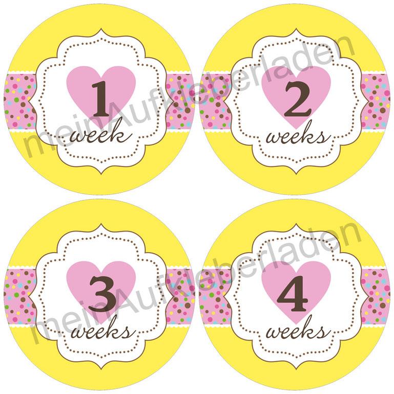 Baby Meilensteinaufkleber |  1-4 Wochen - Herzchen gelb-rosa