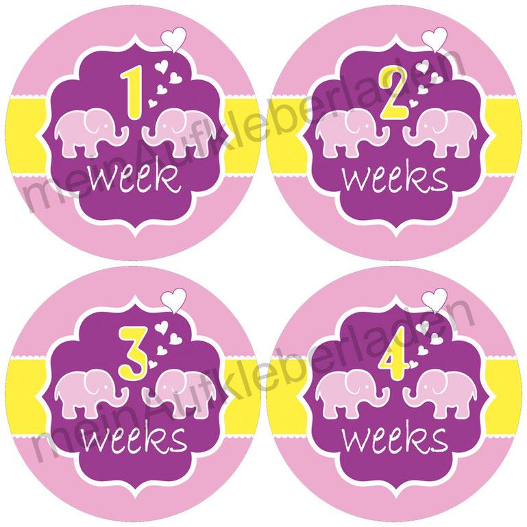Baby Meilensteinaufkleber |  1-4 Wochen - Elefant pink gelb