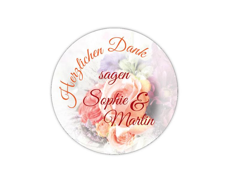 personalisierbare Hochzeitsaufkleber - Danke Aufkleber: Herzlichen Dank - mit romantischen Blumen - Rosen - für Verlobungen, Hochzeiten, Familienfeiern, Gastgeschenke, Einladungen, Dankesbriefe