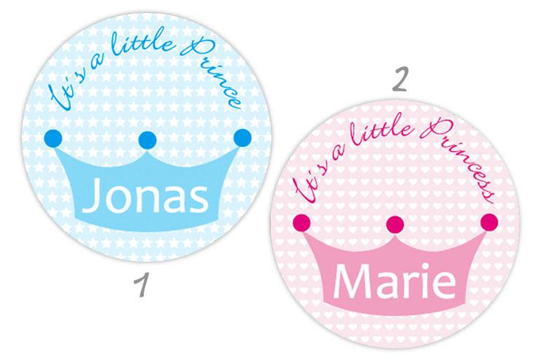 personalisierbare Babyaufkleber mit Herzchen oder Sternchen, personalisierbar mit Wunschtext - zur Geburt, Babyshower, Gastgeschenke, Einladungen, Dankesbriefe
