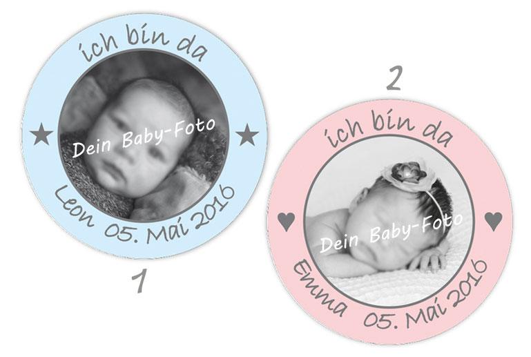 personalisierbare Babyaufkleber mit Herzchen und Sternchen, personalisierbar mit Wunschtext und Foto - zur Geburt, Babyshower, Gastgeschenke, Einladungen, Dankesbriefe