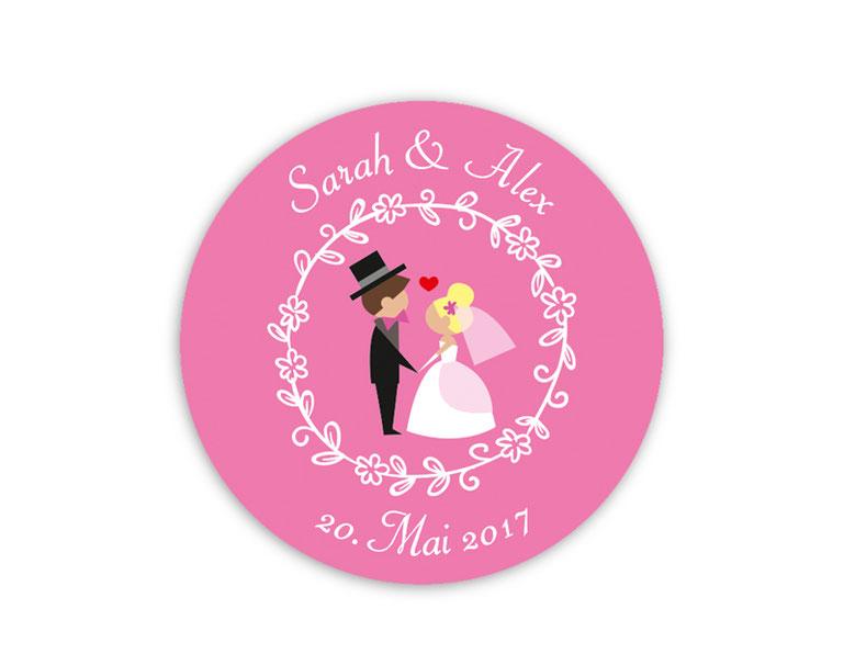 personalisierbare Hochzeitsaufkleber -  Hochzeitspaar mit Herzchen - für Verlobungen, Hochzeiten, Familienfeiern, Gastgeschenke, Einladungen, Dankesbriefe