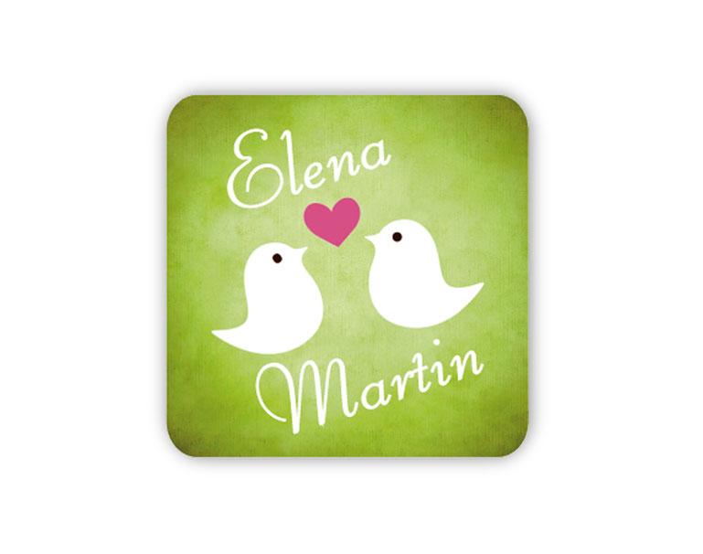 personalisierbare Hochzeitsaufkleber -Vögelchen mit Herz - für Verlobungen, Hochzeiten, Familienfeiern, Gastgeschenke, Einladungen, Dankesbriefe