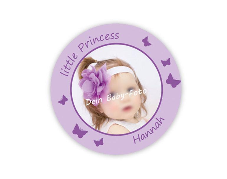 personalisierbare Babyaufkleber mit Schmetterlingen, personalisierbar mit Wunschtext und Foto - zur Geburt, Babyshower, Gastgeschenke, Einladungen, Dankesbriefe