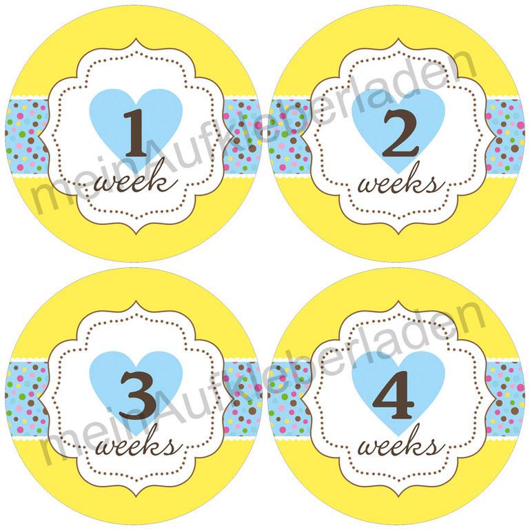 Baby Meilensteinaufkleber |  1-4 Wochen - Herzchen gelb-hellblau