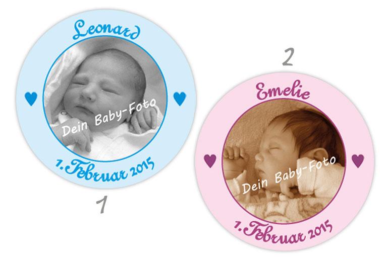 personalisierbare Babyaufkleber mit Herzchen, personalisierbar mit Wunschtext und Foto - zur Geburt, Babyshower, Gastgeschenke, Einladungen, Dankesbriefe