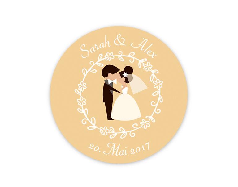 personalisierbare Hochzeitsaufkleber -  küssendes Brautpaar  - für Verlobungen, Hochzeiten, Familienfeiern, Gastgeschenke, Einladungen, Dankesbriefe