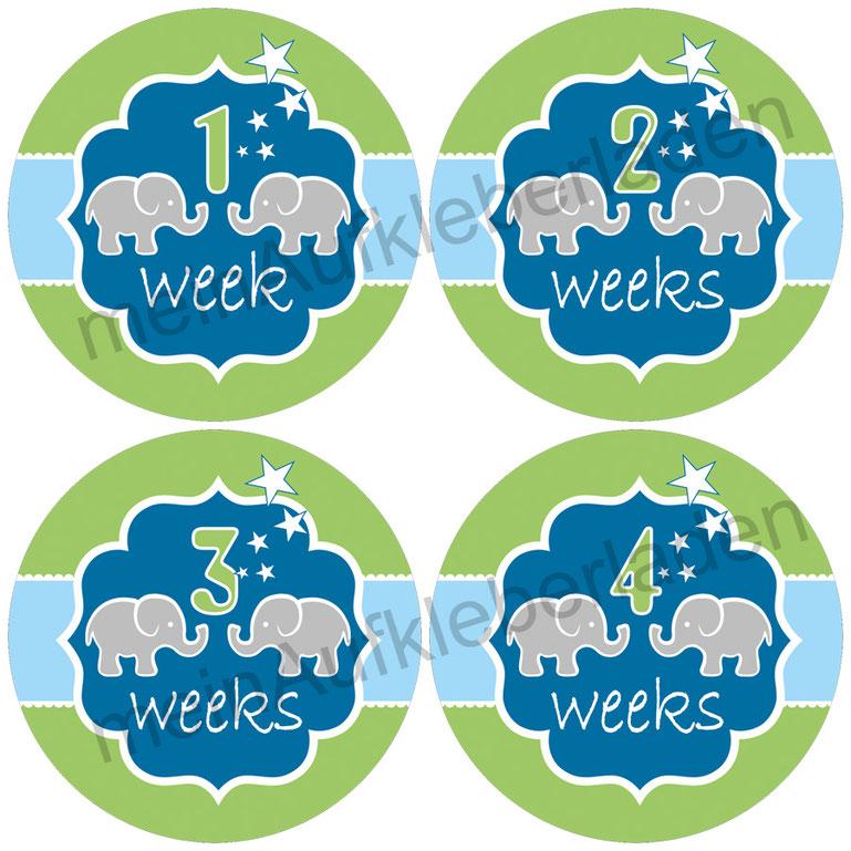 Baby Meilensteinaufkleber |  1-4 Wochen - Elefant blau-grün