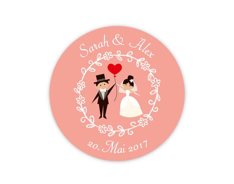 personalisierbare Hochzeitsaufkleber -  Hochzeitspaar mit Herzluftballon - für Verlobungen, Hochzeiten, Familienfeiern, Gastgeschenke, Einladungen, Dankesbriefe