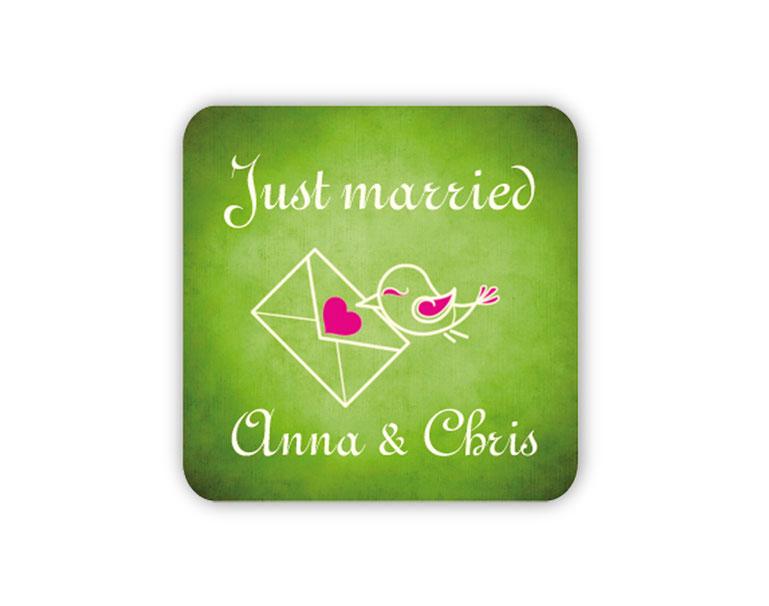 personalisierbare Hochzeitsaufkleber -Vögelchen mit Liebesbrief - für Verlobungen, Hochzeiten, Familienfeiern, Gastgeschenke, Einladungen, Dankesbriefe