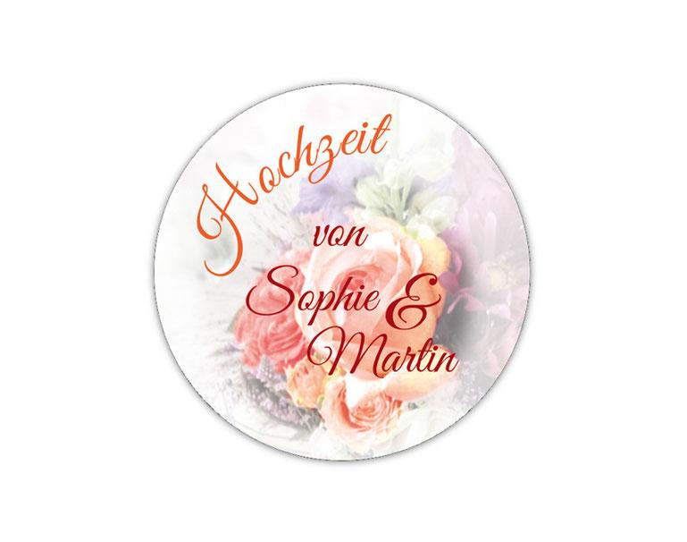 personalisierbare Hochzeitsaufkleber mit romantischen Blumen - Rosen - für Verlobungen, Hochzeiten, Familienfeiern, Gastgeschenke, Einladungen, Dankesbriefe