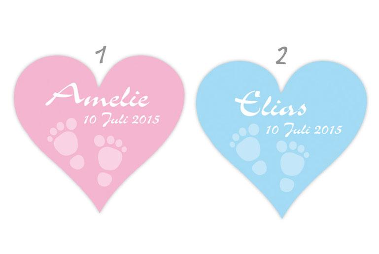 Herzförmige Babyaufkleber mit Babyfußabdruck, personalisierbar mit Wunschtext - zur Geburt, Babyshower, Gastgeschenke, Einladungen, Dankesbriefe