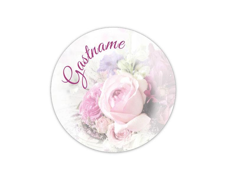 mit Name der Gäste personalisierbare Hochzeitsaufkleber,  Namensaufkleber, Gastname - mit romantischen Blumen - Rosen - für Verlobungen, Hochzeiten, Familienfeiern, Gastgeschenke, Einladungen, Dankesbriefe