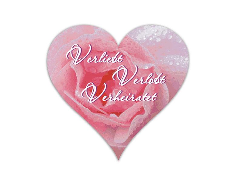 Herzförmige Hochzeitsaufkleber mit Rosenfoto personalisierbar mit Wunschtext - für Verlobungen, Hochzeiten, Familienfeiern, Gastgeschenke, Einladungen, Dankesbriefe