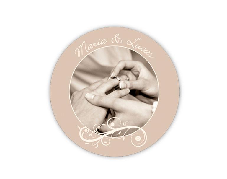personalisierbare Hochzeitsaufkleber mit Foto - Blumenornament - für Verlobungen, Hochzeiten, Familienfeiern, Gastgeschenke, Einladungen, Dankesbriefe