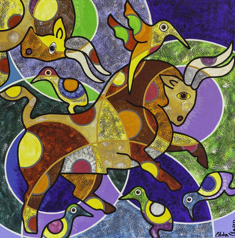 "Edda Clasen, ""¡Toros!"", 100 x 100 cm, available"