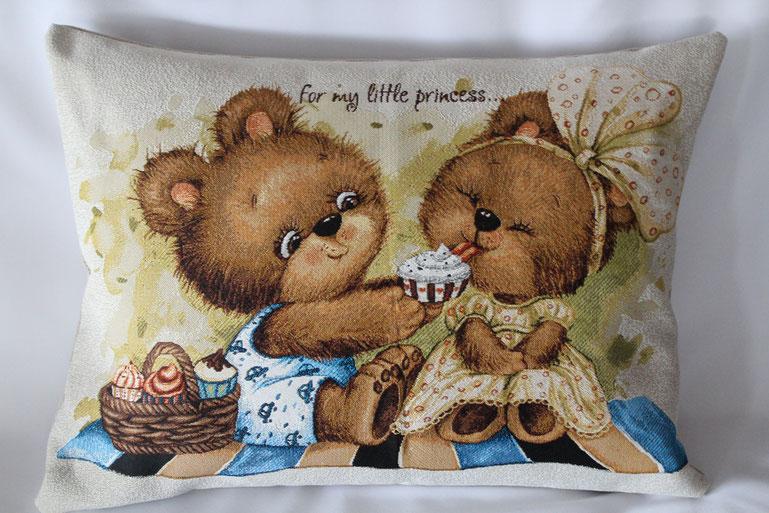 """Gobelinkissen """"Teddy Bears Picnic"""" Zierkissen Sofakissen Dekokissen"""