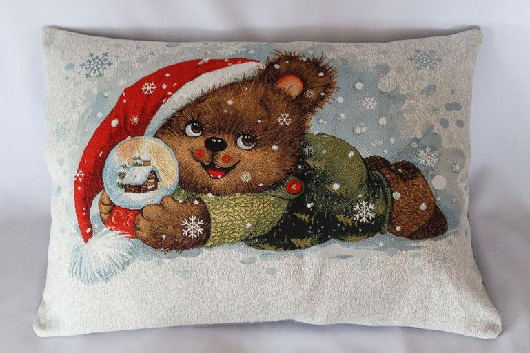 "Gobelinkissen ""Teddy bears Christmas"" Zierkissen Sofakissen Dekokissen Weihnachten"