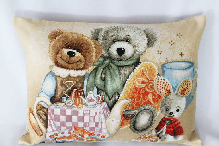 "Gobelinkissen ""Teddy's tea party"" Zierkissen Sofakissen Dekokissen"