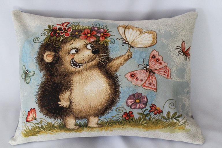 """Gobelinkissen """"Igel mit Schmetterlinge"""" Zierkissen Sofakissen Dekokissen"""