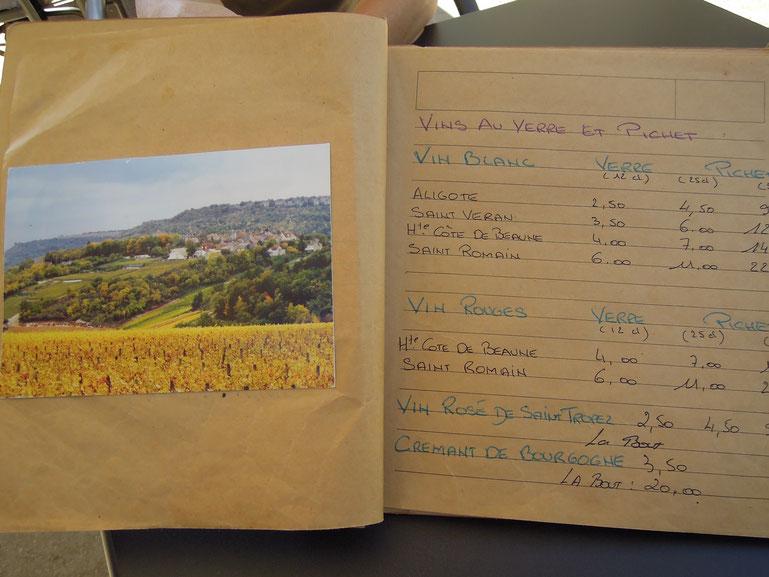 Das Beste aus der Region: Weinkarte in einem Restaurant im Burgund. Foto: C. Schumann, 2019