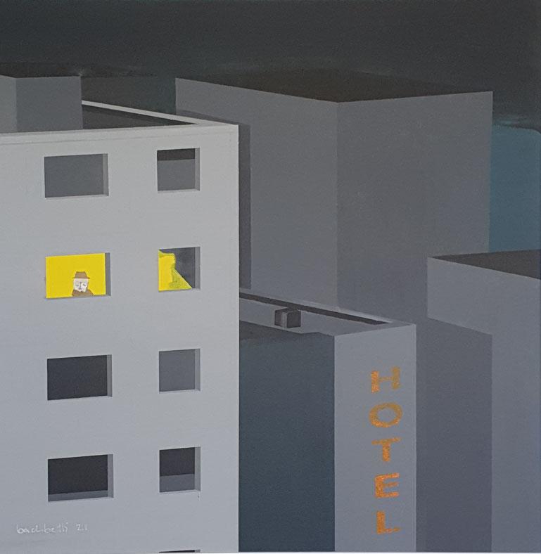 gemaltes Bild mit Hochhäusern und einem einsamen Mann