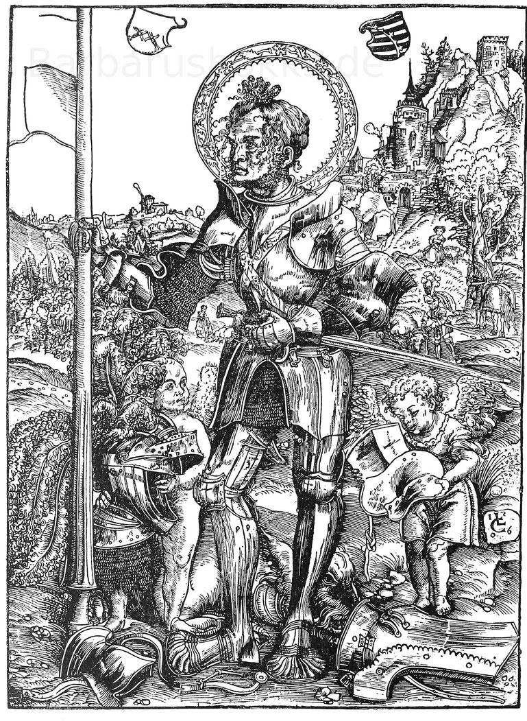St. Georg. Holzschnitt von Lucas Kranach (1472-1553)- Nürnberg. Germanisches Museum.