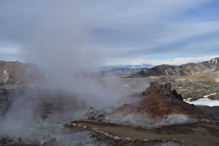 steam vents, geothermal activity Landmannalaugar.