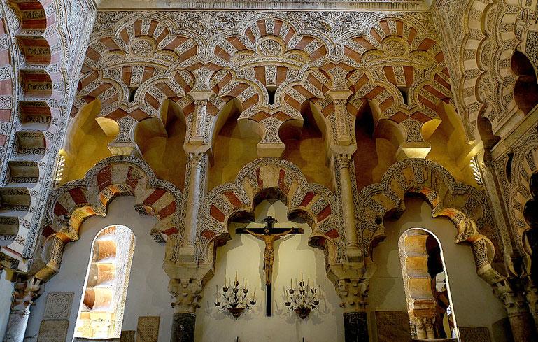 Photographie, Espagne, Andalousie, Cordoue, grande mosquée,  cathédrale, édifice religieux, Christ, éléments, arcs trilobés, stucs, Mathieu Guillochon.