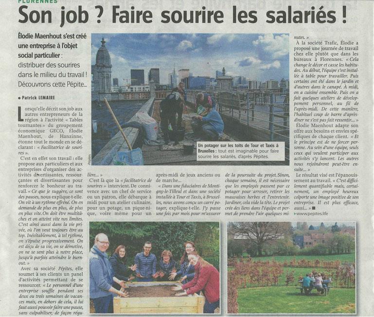 Son Job ? Faire sourire les salariés ! Article dans le journal L'Avenir du 13 mai 2017 (partie 1)