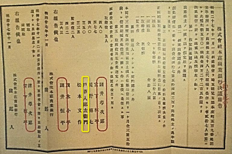 「株式会社本庄商業銀行創業総会決議報告」画像