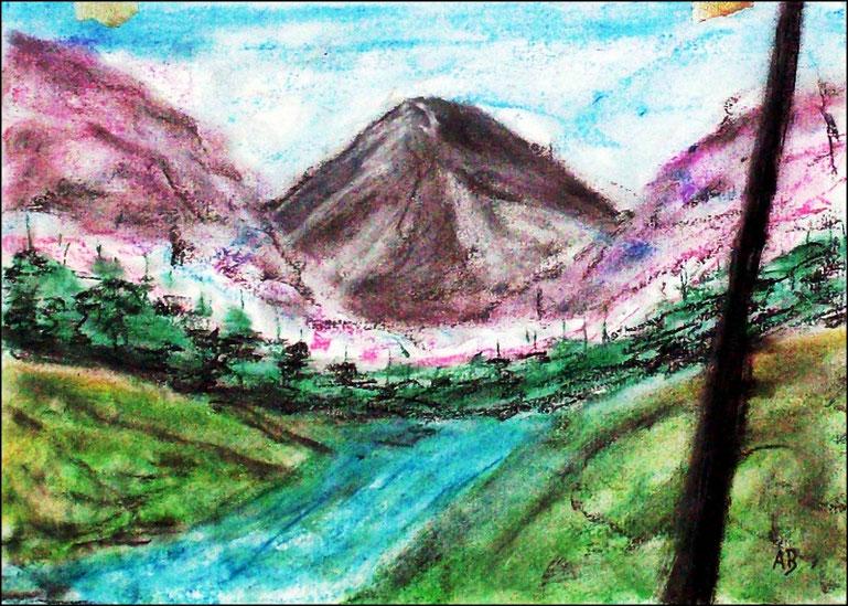 Berglandshaft, Pastellgemälde, Berge, Hügel, Bäume, Wald, Baum, Bach, Wasser, Wiese, Fluss, Landschaftsmalerei, Pastellbild, Pastellmalerei