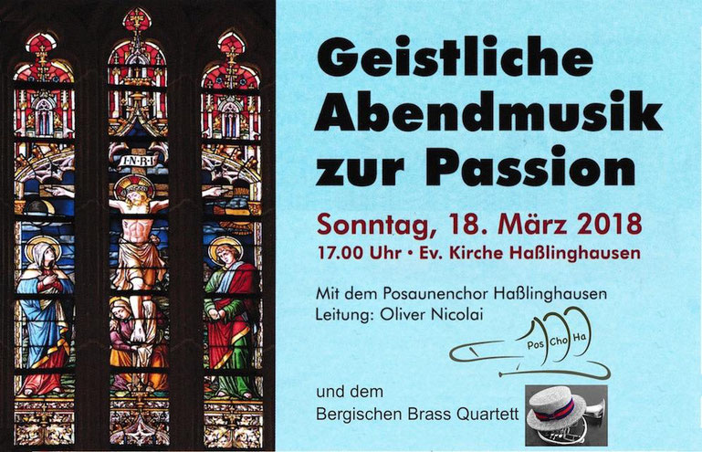 Plakat mit der Einladung des ev. Posaunenchors zum 18.03.2018 in der ev. Kirche Haßlinghausen