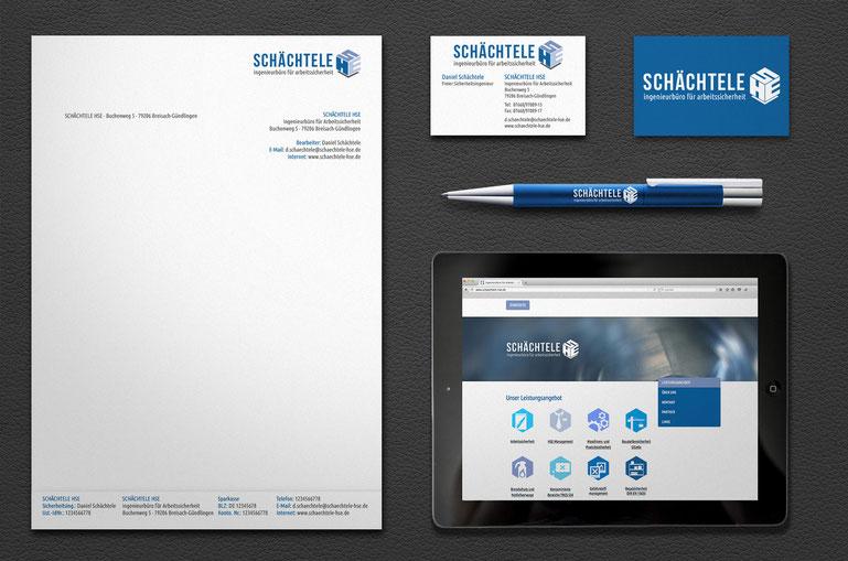 Corporate Design, Visitenkarte, Briefpaier, Logo für Schächtele HSE