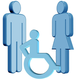 Grafik einer Familie mit behindertem Kind als Auswirkung der Huntington-Krankheit / Chorea Huntington auf die Familie