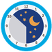 bedtijden icoontje, klok waarop de nacht is weergegeven