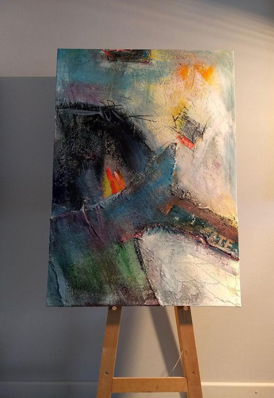 KRABAT 02.20, Acryl auf Leinwand mit haptischen Strukturaufträgen, 70x100cm
