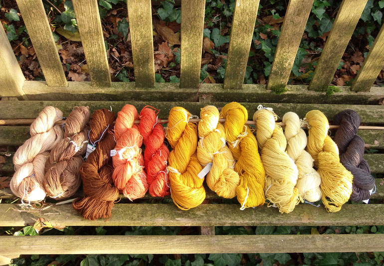 12 Stränge Wolle handgefärbt mit Naturfarben in verschiedenen Farbtönen und Wollqualitäten auf einer alten Gartenbank