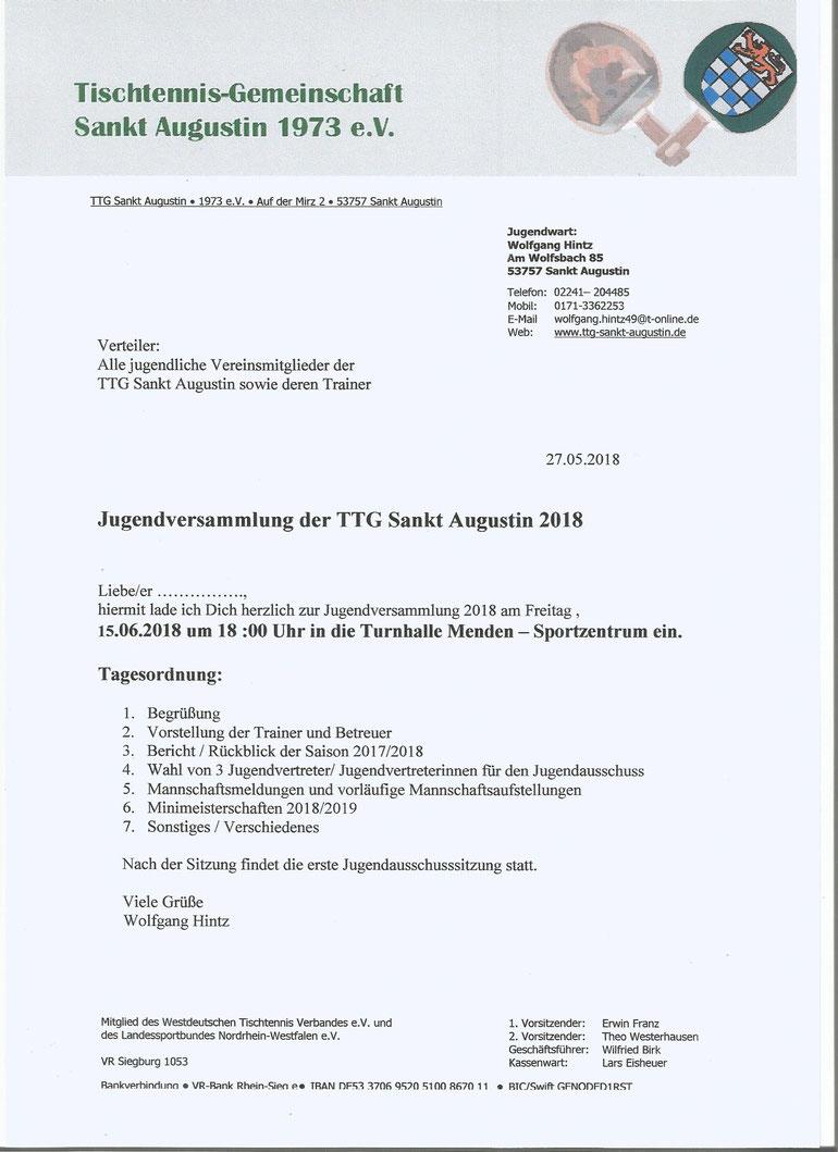 Jugendversammlung 2018 - TTG Sankt Augustin
