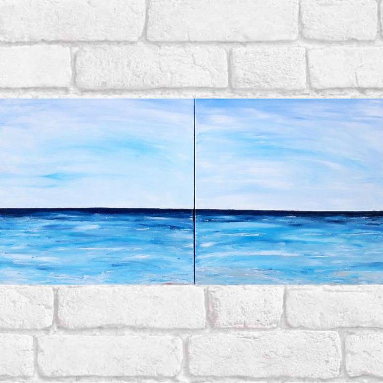 tableau-diptuqye-paysage-ocean-peinture-marine-grand-tableau-bleu-audrey-chal-artiste-peintre-royan