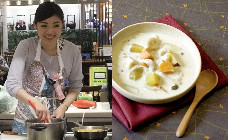 左)講師の和田千奈さん  右)簡単レシピでできる、秋めいた季節に食べたくなるクリームシチュー