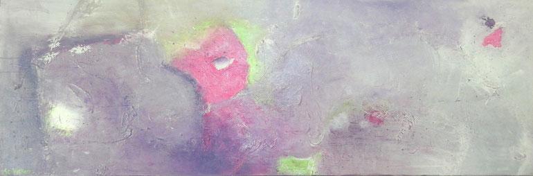 Tableau abstrait gris, rose et vert