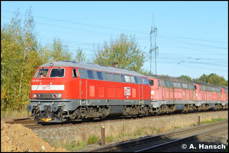 Und Bremslok 218 467-9 (MEG 305) am Zugschluss