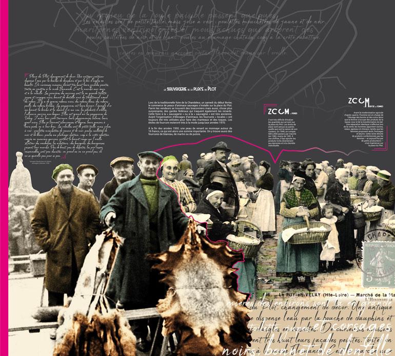 Texte de niveau 2, un côté d'un ensemble de 3 panneaux, composition et colorisation d'illustrations et d'images d'archives, 240 cm de haut