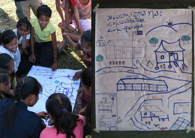 Picture 14: Social and dream map prepared by a group of girls of Kouthee village, Thapangthong district, Lao PDR (2007)