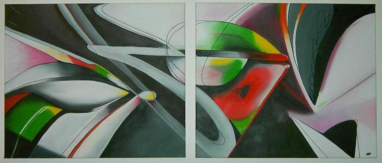 Graffiti Öl auf zwei Leinwänden (2 x 60 x 70 cm). Nach Auftrag Preis: 260,00 €.