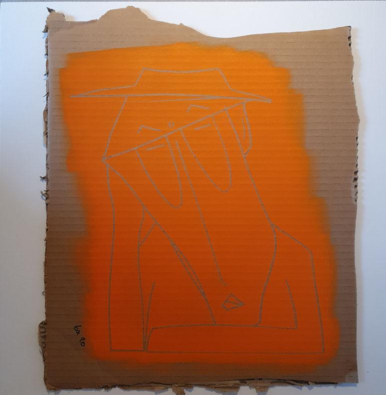 Cardboard Art Bild von einem erschöpften Mann