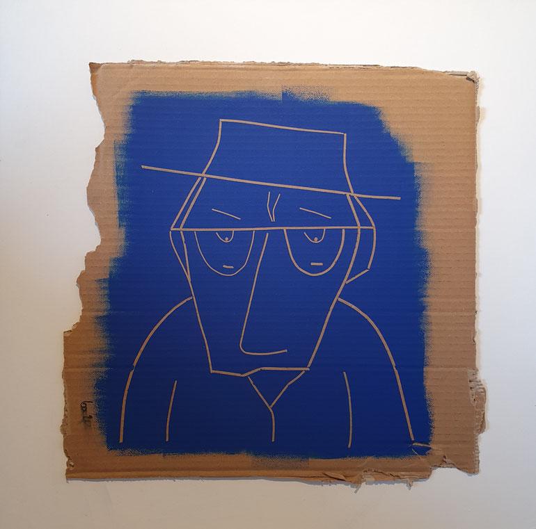 Cardboard Art Bild von einem Mann mit dem Blues