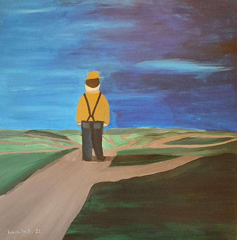 gemaltes Bild von einem Mann mit vielen Wegen